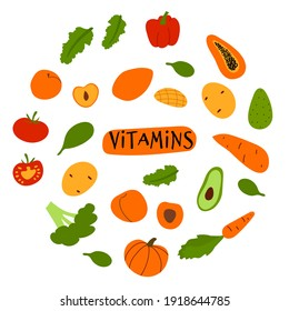 Doodle colorful fruits and veggies rich in vitamin. Vegan healthy food