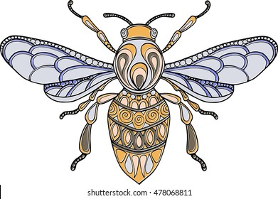Doodle colorful hand drawn bee illustration. Ornate decorative bee drawing