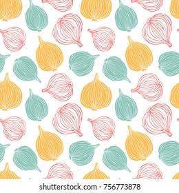 Doodle colorful onions on white background. Vector seamless pattern.