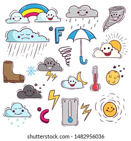 Doodle Colorful Weather Elements With Kawaii Face on White Background