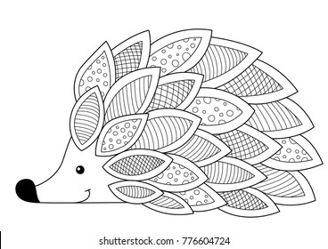 Doodle coloring anti stress book page cute hedgehog.  For adults and children