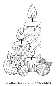 Doodle coloring book page christmas candlies and balls with bows. For adults and children