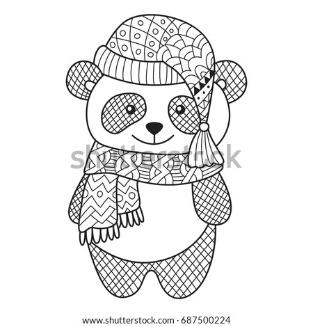 Doodle Coloring Book Page Funny Panda Stock Vector (Royalty Free ...