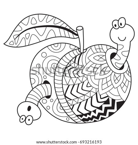Doodle Coloring Book Page Funny Apple Stock Vector (Royalty Free ...