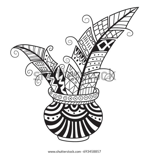 Doodle Coloring Book Page Funny Inkbottle Stock-Vektorgrafik ...