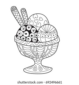 Doodle coloring book page ice cream balls in bowl. Anti-stress coloring for adults and children