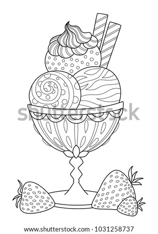 Doodle Coloring Book Page Ice Cream Stock Vektorgrafik Lizenzfrei
