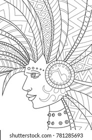 Doodle coloring book page punk hair. Antistress coloring for adults and children