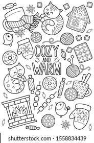 doodle coloring book page winter 260nw