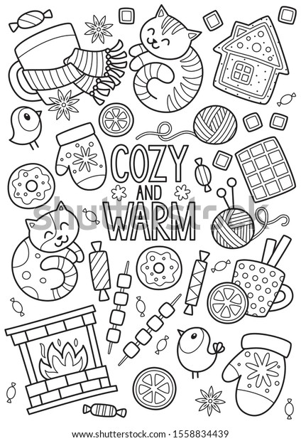 Doodle Coloring Book Page Winter Mood Stock Vector Royalty Free 1558834439