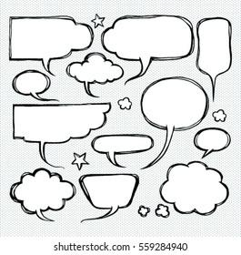 Doodle of comic bubbles speech.