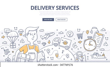 Doodle concept of delivery services, shipping goods by different transport. Modern line style illustration for web banners, hero images, printed materials