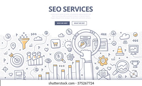 Doodle concept of seo technology, web traffic optimization, conversions marketing