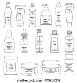 Doodle cosmetic packs set. Woman beauty products sketch collection. Cream, lotion, shampoo, soap bottles. Face and body care products. Pencil effect vector.