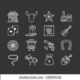 Doodle cowboy icon set