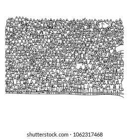 doodle crowd people on stadium vector illustration sketch hand drawn with black lines isolated on white background