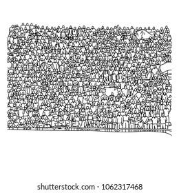 doodle Menschenmenge auf Stadion, Vektorgrafik Skizze handgezeichnet mit schwarzen Linien einzeln auf weißem Hintergrund