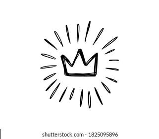 Doodle crown burst in vintage style on white background. Black vector hand drawn sketch illustration. Sun, starburst, sparkle, sunburst set. Line sparkle explosion. Marker handdrawn line. Retro spark