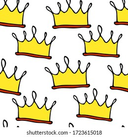 Doodle crowns seamless pattern. Hand drawn luxury background. Cute baby, little princess or royal design for childrens room, posters, celebration. Vector illustration.