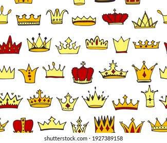 Doodle crowns seamless pattern. Hand drawn cartoon background. Cute baby, kids design for childrens room, posters, fabric. Vector illustration.