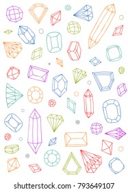 Doodle crystals set, colorful geometric line art sketch shapes