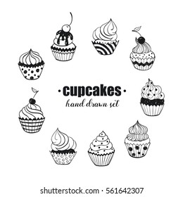 Doodle cupcakes collection. Hand drawn food icons isolated on white background. Sweets doodle set. Handdrawn elements for cafe and restaurant menu design.