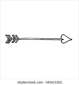 Doodle of cupid's arrow. Vector.
