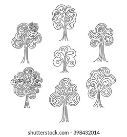 Doodle curly tree set isolated on white background. Vector illustration.