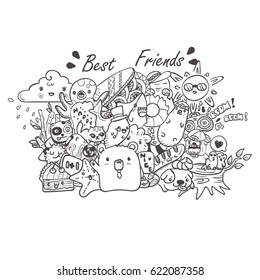 doodle the cute bear with friends hand drawn vector illustration for kid t-shirt print, greeting and invitation card
