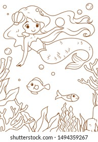 Doodle cute cartoon little mermaid, mermaid and the sea, White background, Brown outline, clipart, vector illustration for Coloring book.