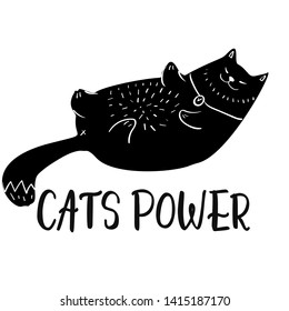 Doodle Cute Cat Greeting Card Design Template. Hand Drawn Animal Personage T-shirt Design. Funny Cat Emotions.