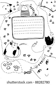 Doodle cute cats background. may be used as an invitation.