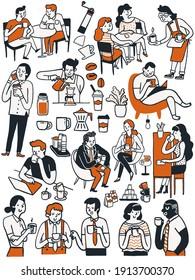 Doodle mignon collection de personnages de nombreuses personnes, homme et femme, aiment boire du café dans diverses poses. Concept multi-ethnique, amoureux du café. Dessin dessiné à la main, style simple.