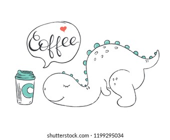 A doodle of cute dinosaur wishing for coffee.