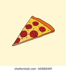 Doodle cute hand drawn icon of the piece of pizza.