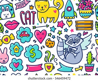 Doodle Cute Seamless Pattern Color Vector Illustration With Hearts And Flowers Animals Coffee