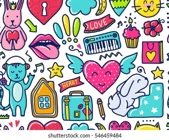 Doodle Cute Seamless Pattern Color Vector Illustration With Hearts And Flowers Animals Lips