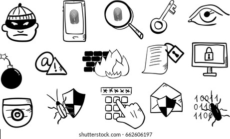 Doodle Cybersecurity, virus, malware and computer security icons