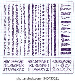 Doodle Decorative Borders Squiggles and Alphabets. Funny Vector Hand Drawn Notebook Illustration.