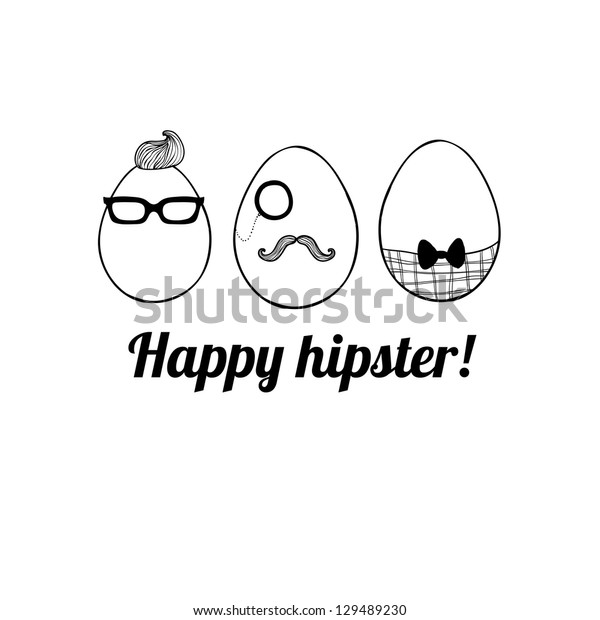 Doodle decorative hipster eggs for Easter. May be used as an invitation or a foliage for different printings.