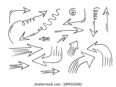 doodle design elements. hand drawn arrows isolated on white background. Vector illustration.