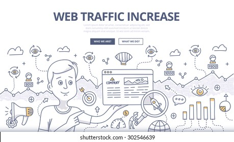 Doodle design style concept of analyzing SEO data and building strategy to increase traffic to website. SEO conceptual linear illustration for web banners, printed and promotional materials