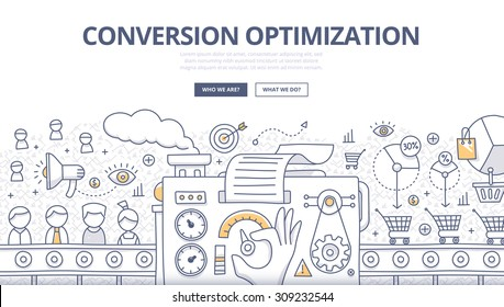 Doodle design style concept of conversions marketing, customer management, SEO technology of converting leads into sales. Modern line style illustration for web banners, hero images, printed materials