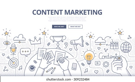 Doodle design style concept of creating, marketing and sharing of digital content. Modern line style illustration for web banners, hero images, printed materials