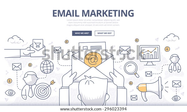 Doodle design style concept of digital marketing, email campaign, newsletter and subscription.Modern line style concept for web banners, online tutorials, printed and promotional materials