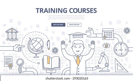 Doodle design style concept of global education, training courses, obtaining specialty, university graduation, career. Modern concepts for web banners, online tutorials, printed, promotional materials
