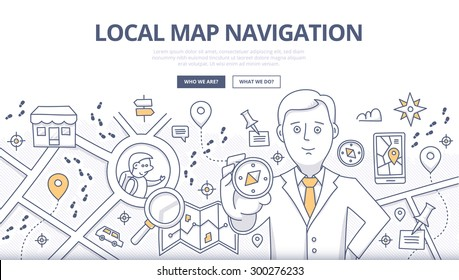 Doodle design style concept of map navigation, local business marketing, mobile geo technology. Modern line style concepts for web banners, online tutorials, printed and promotional materials