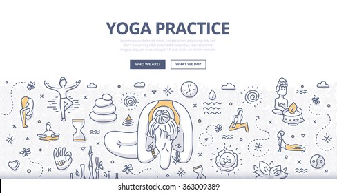 Doodle design style concept of practicing yoga, concentration, wellbeing exercising. Modern line style illustration for web banners, hero images, printed materials