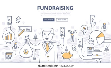 Doodle design style concept of raising funds, making investments, crowd funding, donating money, growing profit. Modern concepts for web banners, online tutorials, printed and promotional materials