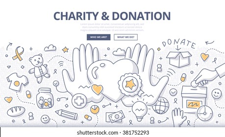 Doodle design style illustration of giving help, donating money, clothing, food, medicines. Charity & donation line style concept for web banners, printed materials